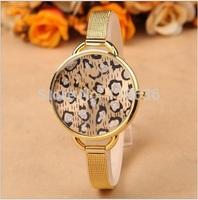 10pcs lot NEW Metal Golden Leopard Watch Women woman casual dress wristwatch Fashion Watch Ladies Gold color