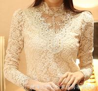 New winter white gauze han edition lace shirt long sleeve blouse plus sizes  lace  blouse