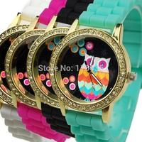 10pcs Crystal Rainbow OWL women watch Retro fashion Silicone wristwatch woman rhinestone Golden Wholesale LOT