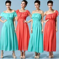 Dropshipping!2015 EUROPE Summer dress  Women Sleeveless Chiffon dress Fashion holiday long dress