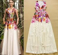 European 2015 Runway Designer Long Dress Women's High Quality Sleeveless Floral Printed Deep V-neck Maxi Holiday Resort Dress