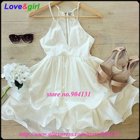 Income New 2015 Summer New Arrival Free shipping Women V neck Strap White Chiffon Dress SJ7