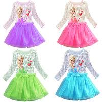 2014 New Design Elsa Princess dresses Girls dress Kids Party dress Baby Printed dresses Children Cartoon Clothing