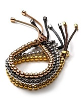 New Design Hot Brand Rose gold  Metal Ball Bead Flexible Leather Bracelets & Bangles Luxury  Women Unisex Bracelet Jewelry