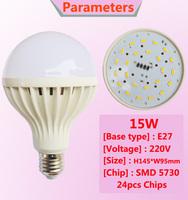 Wholesale 5730 SMD  E27 Led Light Bulb 3W 5W 7W 9W 12W 15W LED Lamp 220V  Cold Warm White Led Spotlight Lamps