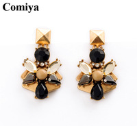 2015 New Fashion Comiya Gold Metal Flower Earrings with Embedded Black and Crystal Rhinestone and Round Pearl for women jewelry