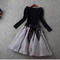 2015 Spring Elegant Europe Women Clothing Set With Skirt Suit Fashion Long Sleeve Slash Neck Black Top Skirt Suit 2 Piece Outfit