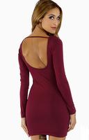 vestidos 2014 Sexy Women/Lady U Neck Bare Back Backless Dress Long Sleeve Winter Dress 7 colors casual dress free shipping