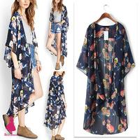 2015 Retro Women Flower Bird Crane Print Long Shirt Sunscreen Kimono Cardigan Blouse