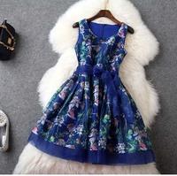 Europe Style 2015 New High Fashion Summer Brand Women Clothing Dresses Elegant Sleeveless Cute Floral Print Big Size Tank Dress