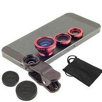 Wholesale Fisheye-Lens + Wide Angle + Macro Lens Clip Camera Photo Kit (Red)