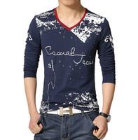 S-5XL/2015 New Printing V-neck T- shirt Casual Letter Print T-shirt Men Long Sleeve Tee Shirt Clothing Camiseta Mens T-shirt