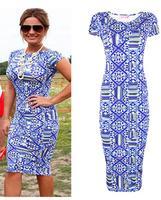 European and American stars geometric pattern printing  dress pencil dress Sexy slim Elegant Dress A008