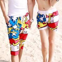 2015 New A Shorts Female Causal Beach Sport Shorts Summer Bermuda Feminina Lovely Bright Color Couple Beachwear