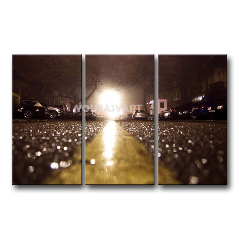 3 Piece Painting On Canvas Wall Art Asphalt After The Rain Night Machines Home Pictures Print City(China (Mainland))