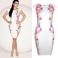 New Ladies Fashon Elegant print slim Dress white star hips sexy pencil dress  one piece dress A0011