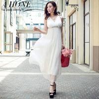 Twods 2015 new silk high quality solid white women party dress sexy V-neck maxi dress slim Crystal waist summer breach dress