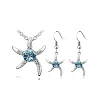 2015 Fashion Hot Sale Platinum Plated Starfish  Necklace Earrings Ring Jewelry Set High Quality Wedding Jewelry Set for Women