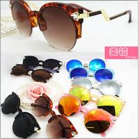 New Metal Cat eye half rim round Sunglasses brand F women reflective gold silver pink sun lenses triangle crystal shades UV400