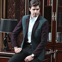 UDOD Brand Autumn Winter Mens Blazers Slim Fit Fashion Patchwork Men's Casual Suits Jacket Cotton and wool  L XL XXL XXXL BN1428