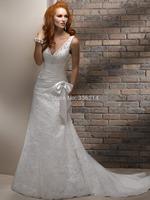 New Arrival!! 2015 New Long V Neck Lace Wedding Dresses Fashionable Vestidos De Noiva Court Train Bride Dress Bridal Gowns