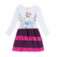 New 2015 Arrival Costume Girls Elsa Princess dress Baby 100% Cotton dress Children Ball Gown dresses Kids Cartoon Clothing