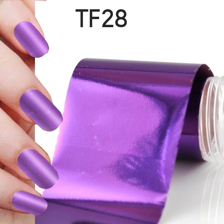 Beautiful Easy DIY Fashion Nail Art Transfer Foil Nail Purple Color Sticker Tips Gitters Decoration free shipping TF28(China (Mainland))
