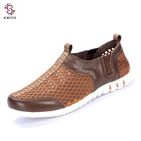 Really high quality men flat shoes Genuine Leather+Mesh shoes Comfortable and breathable men Sneakers men Summer shoes Sandals