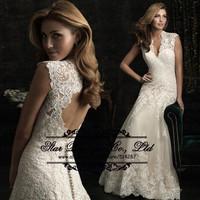 Fashionable 2015 Vestido De Noiva Mermaid Lace Wedding Dresses V Neck Cap Sleeve Ivory Bridal Dress Vestidos