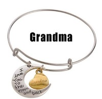 """Vnistar 10pcs/lot hot """"I love you to the moon and back & Grandma"""" Alex and ani bangles & bracelets for women VAB182-3"""