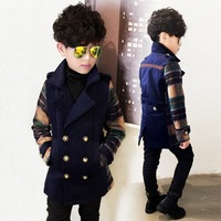 Clothing outerwear 2015 winter children's clothing male child plaid double breasted wool coat thickening baby boy outerwear