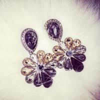 Korea exaggerated fall and winter retro Shih crystal earring