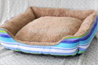 Striped Pet Bed Square Kennels Cotton Canvas Doghouse Cat House Pet Supplies