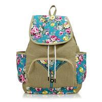 New Women Backpacks Travel Bag Printing Flower  Ladies School Backpack Bags Black Blue Brown Red Rose Color