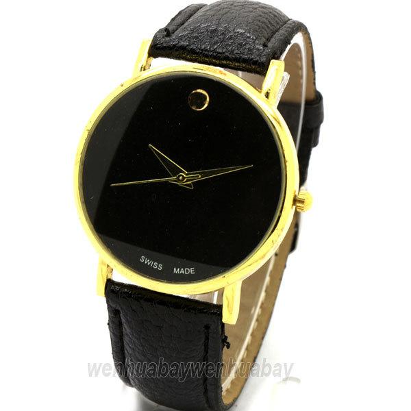 Fashion Gold Luxury Leather Quartz Watches wrist watch Womens men Free Shipping Drop shipping