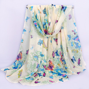 Butterfly Ladies Scarves 2015 Bohemia Fashion Style Silk Chiffon Scarf Womens Scarfs Viscose Satin Scarves(China (Mainland))
