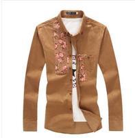 Men Corduroy Shirt Fashion New Casual Slim Plus Size Man Shirt 5XL 4XL 3XL Camisa Masculina
