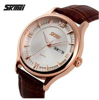 SKMEI Luxury Brand Casual Quartz Watch Waterproof Leather Men's Wristwatches Retro Style Watches Men 3Colors