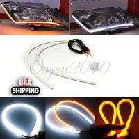 Details about 2x 60cm Audi Tube Style White Amber Switchback Headlight LED Strip DRL Run Light