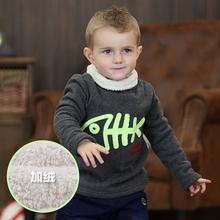 male female  baby winter plus velvet infant thermal turtleneck pullover sweatshirt(China (Mainland))
