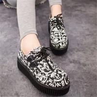 Vintage Hot Sale Europe Casual Harajuku Print Women Shoes Ladies Lace-up Platform Sneakers 7 Colors Fashion Woman sapatos 30443
