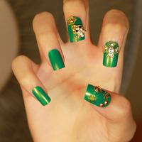 Gold toad green false nails art decoration,woman false nails manicure art ornament display,4.20805.Free shipping