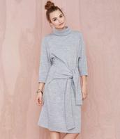 New 2014 Autumn Fashion Women Sweater Turtleneck Pullover False Sleeve Waist Belt Loose bat sleeve Dresses Grey Gola Bordado