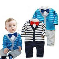 Kids Baby Boy Striped Gentleman Romper Jumpsuit Bodysuit Clothes Outfit Bow Tie