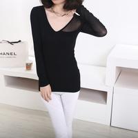 2015 Women's clothing Spring New Fashion Tops Korean Style Slim V Neck Long Sleeve Gauze T shirts Women Blouses Shirts Feminina