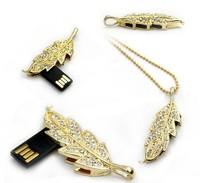 Fashion Jewelry Women Crystal  Leaf  Beads Chain Necklace Model memory card stick/ 4GB 8GB Usb flash drive