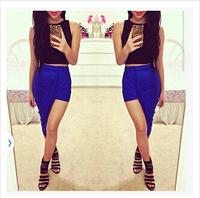 Asymmetrical Draped Long Skirt Bandage Summer New 2015 Vintage Geometric Party Women's Cotton Maxi Skirt   MW444