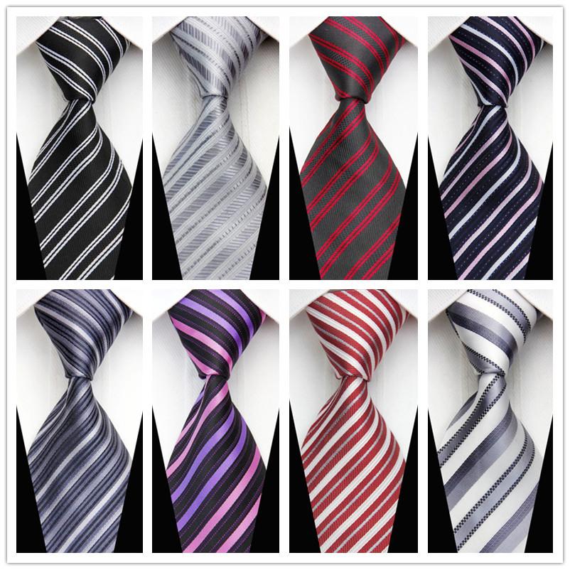 CON84 2015 New Fashion Classic Stripes Silk Tie For Man Business Casual Knit Men's Necktie Gravata Red Black White Purple Blue(China (Mainland))