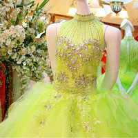 Luxury Sexy Crystal Flower Bowknot Lace Up Ball Gown Vestido Prom Celebrity Evening Formal Party Dress Bridal Gown(XNE-ED231)