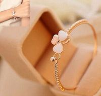 Fashion Charm Jewelry Women Gold Plated Crystal Flower Cuff Bangle Bracelet Gift